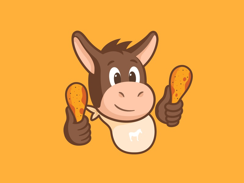 Wing-Wing illustration branding diner lunch leg food smile happy animal character design mascot sticker mule hot chicken wings