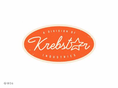 W06 - Krebstar Industries star lettering branding sticker badge press retro vintage brand logo 90s 1990 nickelodeon adventures pete krebstar