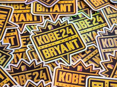 Kobe Holographic Stickers illustration retro gold badge jam nba black mamba kobe bryant basketball basket sport sticker mule stickers holographic