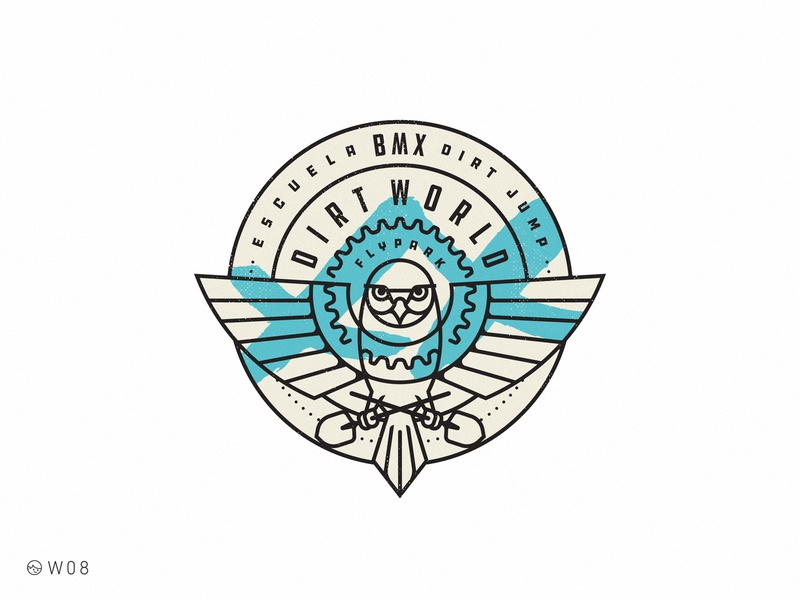 W08 - Dirt World School 20 2020 xx shovel jump dirt bicycle retro logo stroke illustration sticker vintage sport bmx bird badge