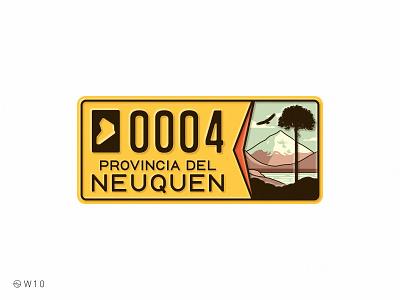 W10 - Neuquén License Plate sticker stroke illustration type nature mountain patagonia argentina vintage retro badge plate license