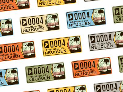 Neuquén License Plate 🌈 pattern typography type travel nature volcano mountain argentina patagonia vintage retro colors illustration license plate license