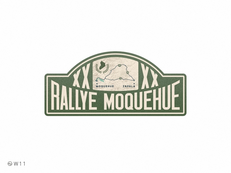 W11 - Rallye Moquehue illustration typography type noise grain 2020 sticker bage map race vintage retro car rally argentina patagonia
