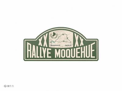 W11 - Rallye Moquehue illustration typography type noise grain 2020 sticker bage map race vintage retro car rally argentina patagonia