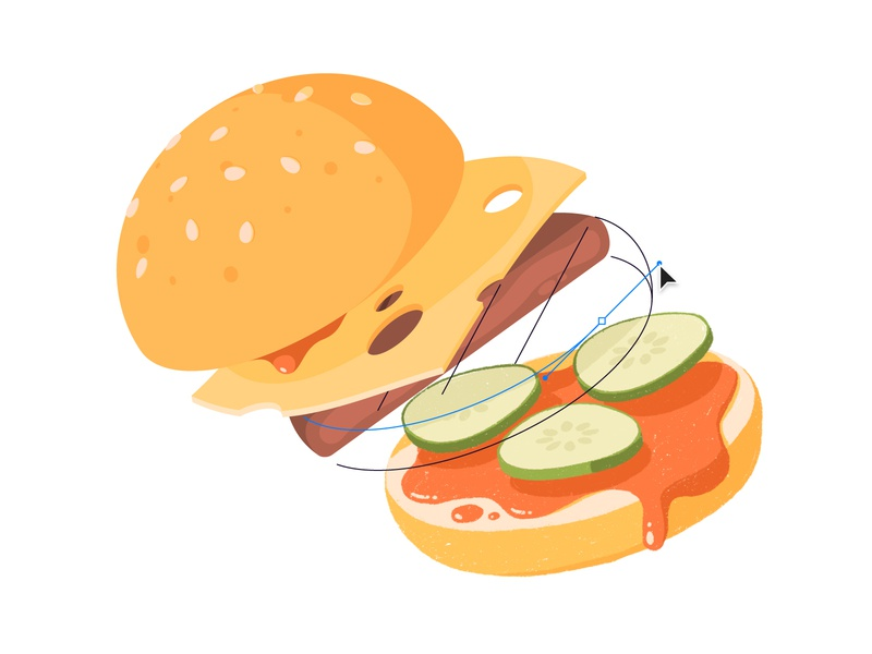 Redraw Burger levitate pickles draw procreate design illustration vector bun cheese food burger hamburger redraw sticker mule
