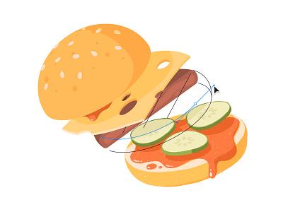 Redraw Burger levitate pickles draw procreate design illustration vector bun cheese food burger hamburger redraw sticker mule