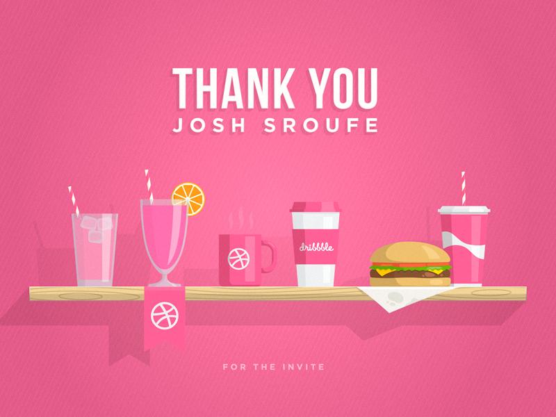 Thank you Josh Sroufe juice soda coffee wood cup shelf hamburguer thanks thank you invite illustration debut dribbble first shot food burger tumbler