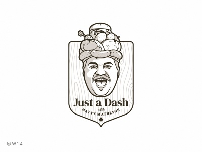 W14 - Just a Dash with Matty Matheson vintage illustration crazy smile face burger hamburger canada shield badge wood ham potato carrot beef meat chef youtube food