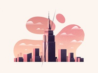 Redraw NYC vintage before after building empire state skyline sunset new york city illustration illustrator vector procreate