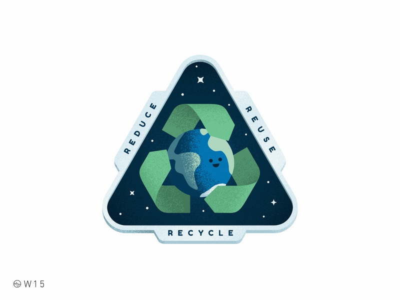 W15 - Earth Day 🌎 retro sticker earthday space triangle planet face cute illustration noise grain badge reduce reuse recycle day earth