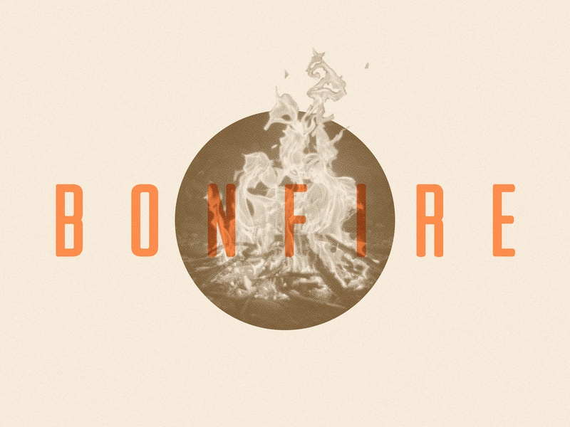 Bonfire Test retro illustration woods vintage camp photography print halftone photo bonfire fire