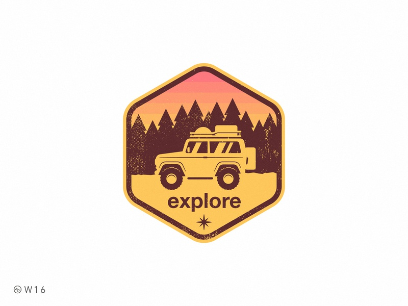 W16 - Explore pine sticker exagon travel retro vintage badge illustration color palette mountain forest sunset woods suv truck explore off road