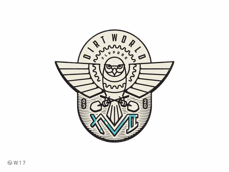 W17 - DWFP 17th Anniversary sticker vector branding illustration stroke bird bicycle retro vintage badge shovel owl bmx jump dirt