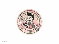 W18 - Mark Hoppus vintage music bass jump cartoon character illustration checkered vans 182 blink pop punk badge sticker