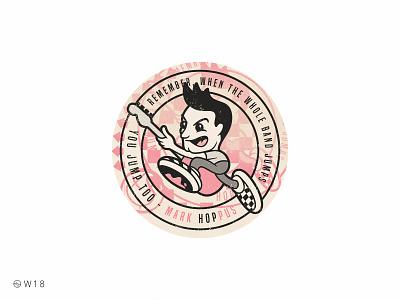W18 - Mark Hoppus vintage music bass jump cartoon character illustration checkered vans 182 blink pop punk badge sticker