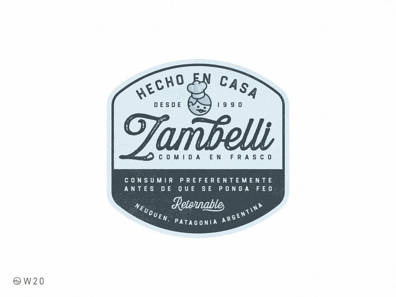 W20 - Zambelli: Comida en Frasco design brand food lettering packaging badge sticker branding logo illustration retro vintage label