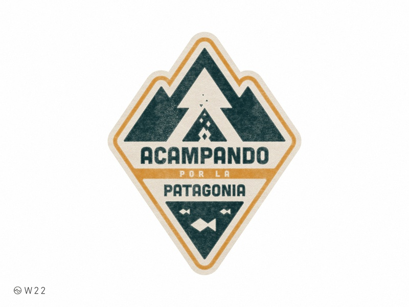 W22 - Acampando por la Patagonia illustration geometric badge triangle retro vintage sticker lake fish pine bonfire forest camping camp patagonia