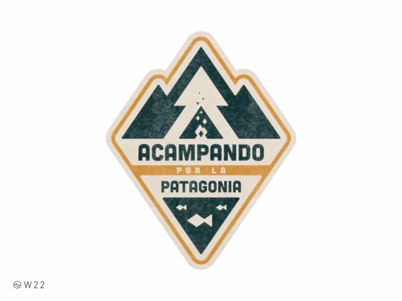 W22 - Acampando por la Patagonia illustration geometric badge triangle retro vintage sticker lake fish pine bonfire forest camping camp patagonia