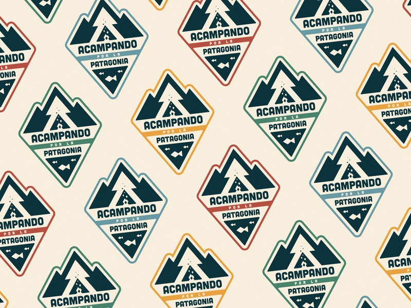 Acampando por la Patagonia logo illustration pattern color vintage retro sticker lake fish triangles woods mountain patagonia camping camp badge