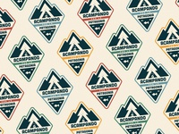 Acampando por la Patagonia logo illustration pattern color vintage retro sticker lake fish triangles woods mountain patagonia camping camp badge
