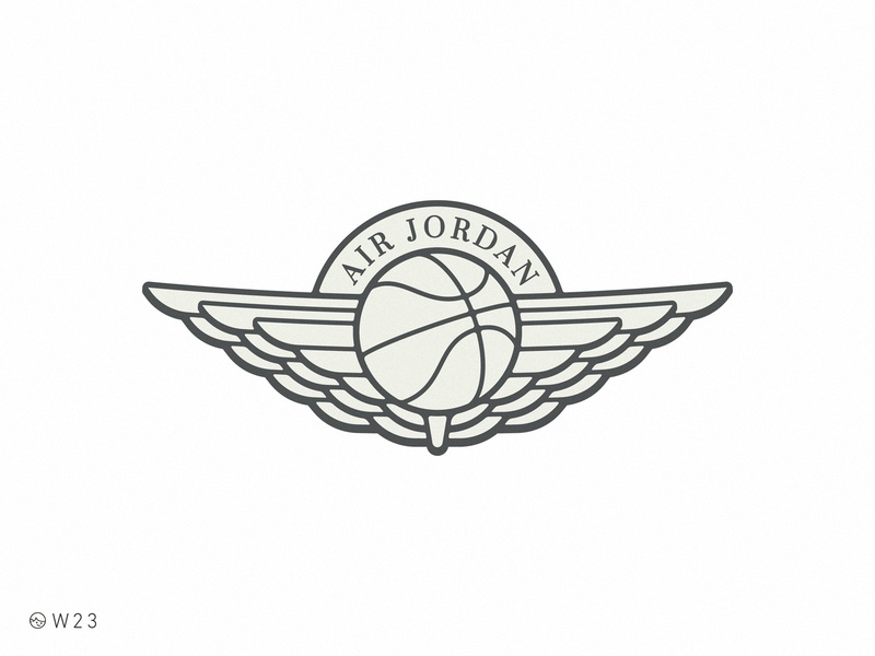 W23 - Air Jordan vector illustration branding stroke logo ball basketball badge sticker vintage retro wings sport michael bulls air jordan