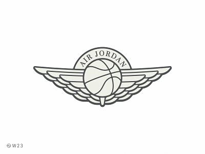 W23 - Air Jordan vector illustration branding stroke logo ball basketball badge sticker vintage retro wings sport michael bulls air jordan