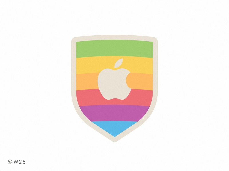 W25 - Apple Rainbow Shield flat simple vector sticker rainbow branding brand logo apple macintosh mac vintage geek retro badge shield