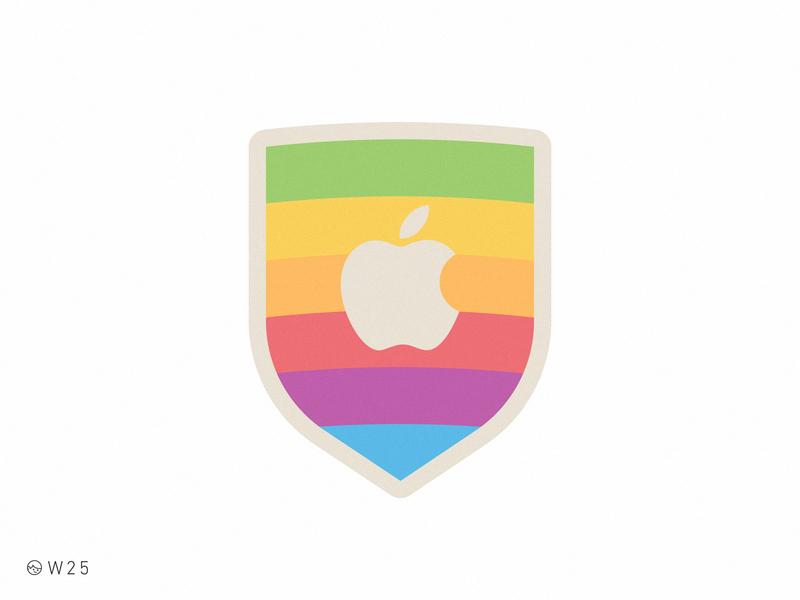 W25 - Apple Rainbow Shield flat simple vector sticker rainbow branding brand logo apple macintosh mac vintage geek retro badge shield