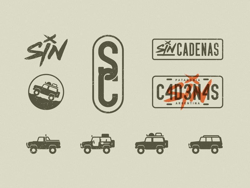Sin Cadenas: variations negative positive illustration icons iconography logo brand branding mountain explore travel truck offroad
