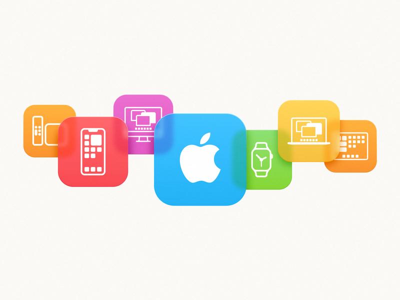 Apple products logo bokeh blur modern pro ipad iwatch imac tv iphone macbook ui iconography icon gradient