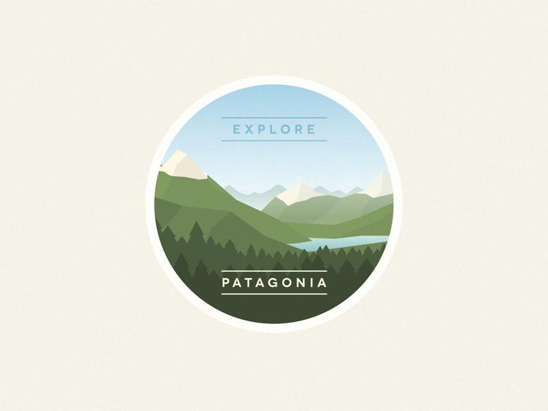 Patagonia explore patagonia argentina south mountains lake horizon illustration badge forest woods