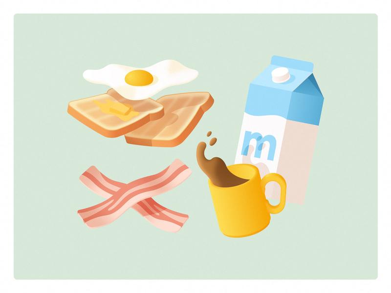 Light Breakfast? butter shadow light illustration coffee cup mug milk coffee bacon toast egg simple food gradient breakfast