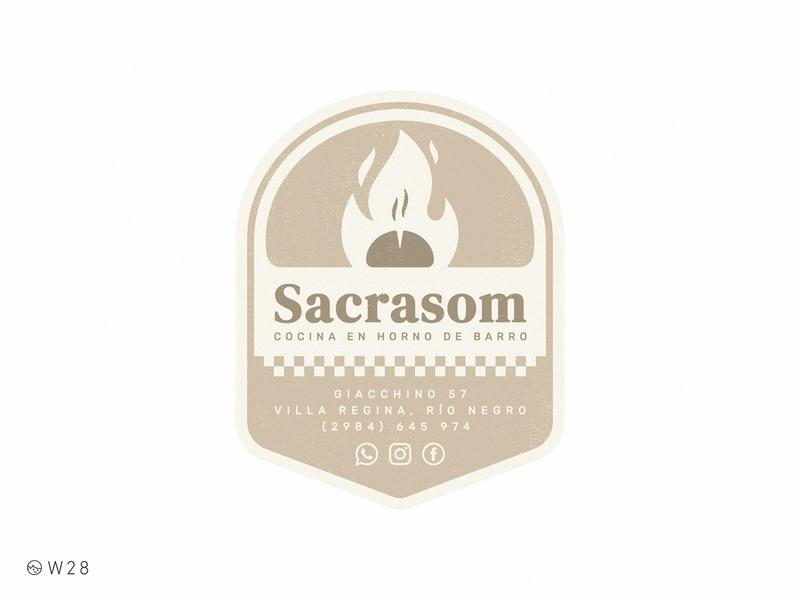 W28 - Sacrasom delivery fire pizza badge oven retro sticker vintage logo food