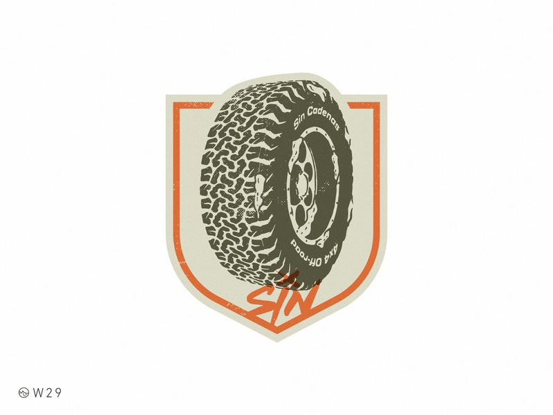 W29 - Sin Cadenas Wheel tire rim vintage brand badge shield snow dirt truck wheel vector procreate illustration offroad