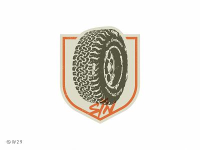 W29 - Sin Cadenas Wheel tire rim vintage brand badge shield snow dirt truck wheel vector procreate illustration offroad