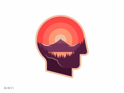 W31 - Sunset Head shadow light illustration vintage geometric lake argentina patagonia forest woods trip travel mountain sun badge sticker sunset