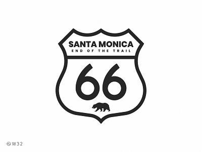 W32 - End of the Route 66 sticker bear shield sign badge santa monica california trip travel trail route 66 route