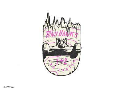W34 - THPS 1+2 gamer videogame sport pink punk vintage badge shield shadow light ipad pro procreate smash broken skate pro skater hawk tony