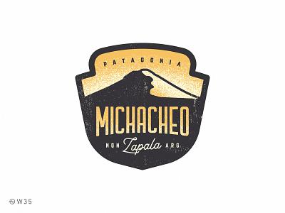 W35 - Michacheo shadow light illustration noise grain neuquen patagonia argentina retro vintage national park badge mountain