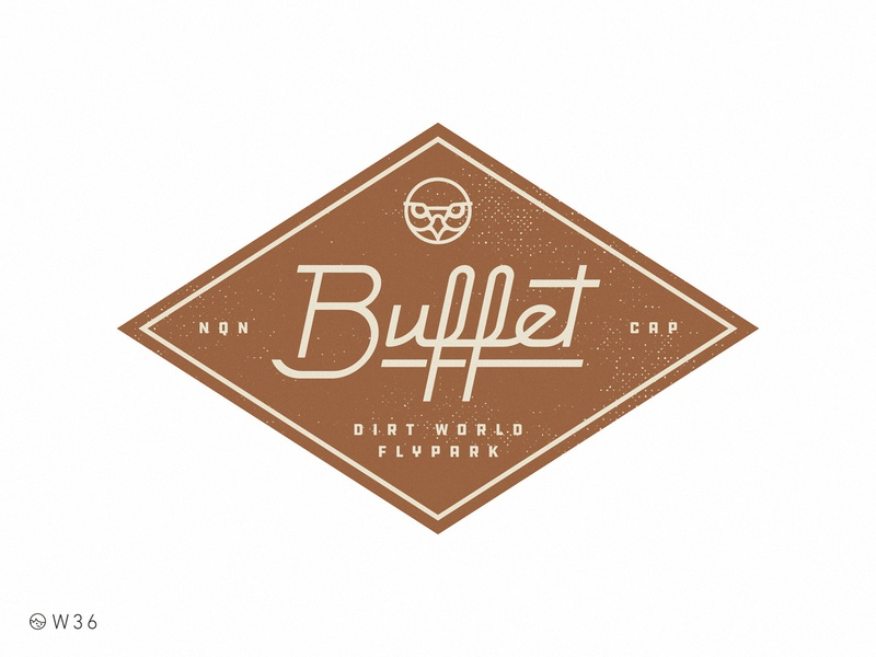 W36 - DWFP Buffet stroke sign logo geometric lettering brand retro vintage badge food buffet
