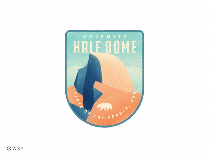 W37 - Half Dome sticker nature patch illustration paint handmade vintage badge ipad pro procreate mountain california national park half dome yosemite