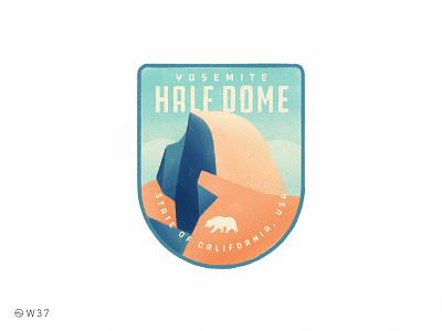 W37 - Half Dome sticker nature patch illustration paint handmade vintage badge ipad pro procreate mountain california national park half dome yosemite