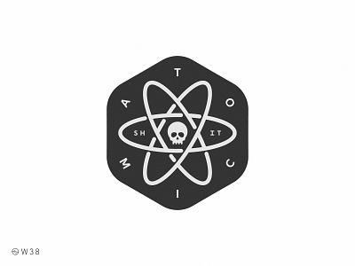 W38 - Atomic S. face head icon illustration shadow light sticker skull logo blackandwhite badge exagon dead death skull atom atomic