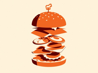Product Sandwich levitate floating light flat burger hamburger bun tape pin button mule stickers vector retro branding food illustration