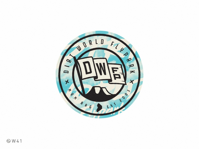 W41 - DWFP branding illustration circle ipad pro procreate sticker sport bmx park flag world jump dirt