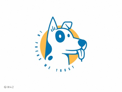 W42 - In frens we trust logo funny cute sticker badge circle stroke animal illustration doggo dog henlo fren