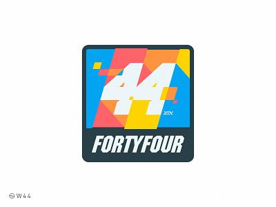 W44 - 44 glitch art four typography customtype car racing race nascar custom italic rounded sticker badge glitch 4 44