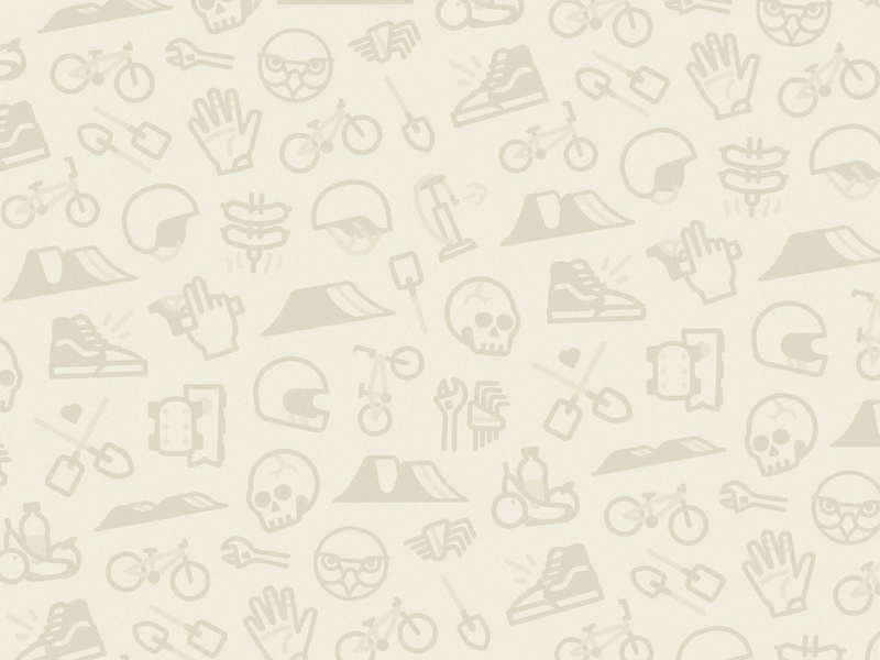 DWFP iconography pattern branding stroke illustration tools helmet shovel vans food skull sport bicycle bmx jump dirt wallpaper pattern icons iconography
