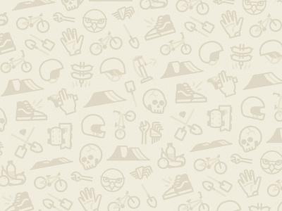 DWFP iconography pattern branding stroke illustration tools helmet shovel vans food skull sport bicycle bmx jump dirt wallpaper pattern icons iconography