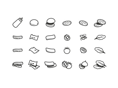 Hamburger Iconography hamburger stroke icons iconography illustration food mustard bun onion ham bacon cheese tomato latuce burger